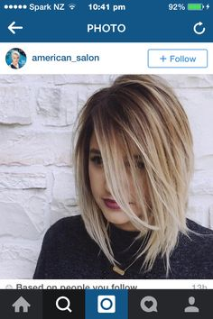 Awesome blonde colour with dark roots. I really like this haircut style