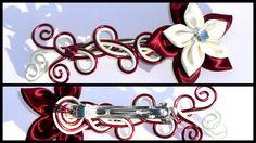 grande barrette fil aluminium bordeaux blanche fleur : Accessoires coiffure par galibijoux-polymer-clay