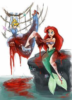 Dark Disney Princess - Ariel by jezzy on DeviantArt Walt Disney, Disney Love, Disney Art, Disney Girls, Disney Stuff, Creepy Disney, Disney Horror, Zombie Disney, Evil Disney