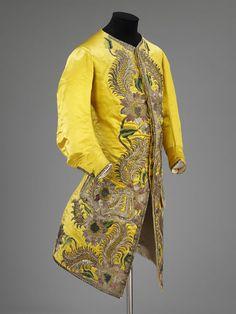 Waistcoat, English, 1730-39. Silk satin, silver thread, spangles, silk thread; hand-sewn and hand-embroidered.