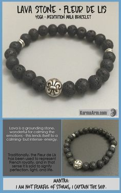 MANTRA: I am not fearful of storms, I captain the ship. - 8mm Lava Stone Round Gemstones - Tibetan Silver Fleur De Lis Icon - Tibetan Silver Rondelles - Commercial Strength, Latex Free Elastic Band -