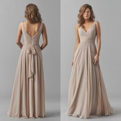 2015 Fall Bridesmaids Formal Dresses Sexy Deep V Neck Elegant Long Sash A  Line Backless Champagne Chiffon Bridesmaid Dress Floor Length Black  Bridesmaid ... d730a9ff2790