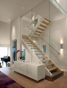 Pleasant Modern Interior Design Featuring Glass Staircase
