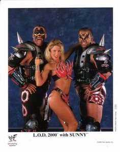 During the Attitude Era many of the women were also managers for Tag Teams. Pictured her is Sunny with the tag team Legion of Doom Wrestling Stars, Wrestling Wwe, Female Wrestlers, Wwe Wrestlers, Hobbit, Attitude Era, Wwe Divas Paige, The Road Warriors, Catch