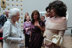 Pin for Later: 25 of the Best — and Most Random — Royal and Celeb Mashups Ever The Queen, Kate O'Mara, Shirley Bassey, and Joan Collins Even the biggest divas sometimes have to wait their turn.