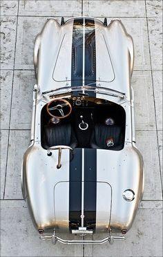 Men's style: Vintage cobra james bond style gold paint car with black racing stripes