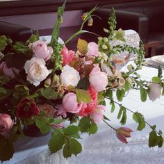 English roses and peonies - wedding tables!