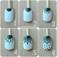 Make up secrets / Make-up Tutorials / Makeup ideas Lace Nail Art, Lace Nails, Flower Nails, Nail Art Hacks, Nail Art Diy, Diy Nails, Pedicure Nails, Manicure, Indian Nails