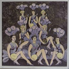 Banjo Belles - Relief Print by Sarah Young