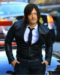 Norman, handsome in leather.