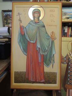 St Anastasia, Byzantine Icons, Orthodox Icons, Ikon, Saints, Watercolor, Frame, Painting, Textiles