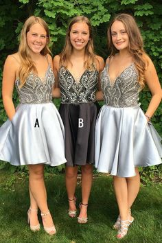 Buy Spaghetti Straps V Neck Above Knee Grey Satin Homecoming Dress with Beads Pockets online.Shop short long ombre prom, homecoming, bridesmaid evening dresses at Couture Candy Cocktail party dresses, formal ball gowns in ombre colors. Lace Homecoming Dresses, Bridesmaid Dresses, Cheap Evening Dresses, Dresses Uk, Summer Dresses, Satin Shorts, Short Gowns, Tea Length Dresses, Party Gowns