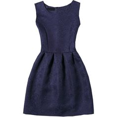 Navy Sleeveless Jacquard A-Line Dress ($11) ❤ liked on Polyvore featuring dresses, navy, blue skater dress, blue a line dress, blue sleeveless dress, blue dress and navy sleeveless dress