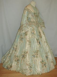 Enchanting Warp Floral Print Silk Dress in Clothing, Shoes & Accessories, Vintage, Women's Vintage Clothing, (Victorian & Older) 1850s Fashion, Victorian Fashion, Vintage Fashion, Bustle Dress, Silk Dress, Vintage Dresses, Vintage Outfits, Vintage Clothing, Women's Clothing
