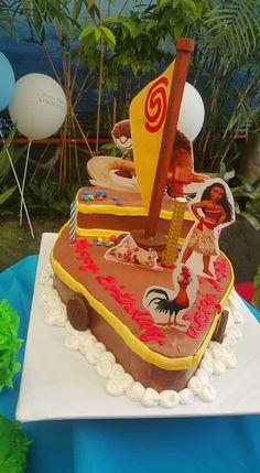 Moana Birthday Cake I Made With Edible Boat And Maui As The Hawk - Maui birthday cakes