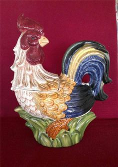 Jay import ceramic rooster cookie jar cookie jars roosters and jars - Ceramic rooster cookie jar ...