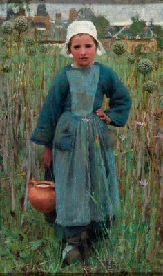 Peasant Girl Carrying a Jar, Quimperlé  by George Clausen