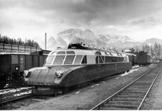 Luxtorpeda train stationing in Poland, Zakopane in the 1930's