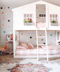 How amazing is this Polka Dot Paradise? What if I told you that you could get 20% off the top bunk AND 20% off the bottom bunk?? 🙌🏻 What if I told you that you get 20% off this whole room, the room down the hall, PJs for you, PJs for your spouse, a blanket for your mom OR one of each of these for everyone?!? It's true, it's all true! 🤯 Use code PINTEREST at checkout for 20% off your entire order no matter what you are getting!  📷: @teeenzy Modern Girls Rooms, Big Girl Bedrooms, Little Girl Rooms, Girls Bedroom, Bedroom Decor, Bedroom Ideas, Floral Bedroom, Shared Bedrooms, Bed Ideas