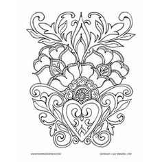 Floral Motif Valentine Art coloring page for adults. Beautiful hand drawn design by artist Jennifer Stay will inspire your creativity.