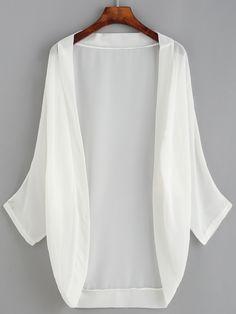 White Dropped Shoulder Chiffon Kimono — € ------------------color: White size: L,M,S,XL Kimono Fashion, Hijab Fashion, Fashion Clothes, Fashion Dresses, Style Kimono, Mode Kimono, Kimono Cardigan, Kimono Jacket, Kimono Top