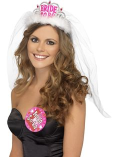 White Bride To Be Crown Tiara Veil Bachelorette Girls Night Hen Party Do Dress
