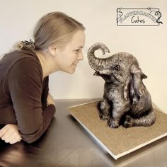 Baby elephant by Flappergasted Cakes …See the cake: http://cakesdecor.com/cakes/226542-baby-elephant