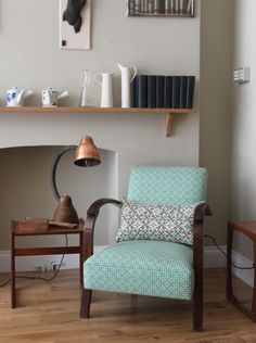 Retro chair found and upholstered by Handmade Interiors with their own design Akin&Suri fabrics