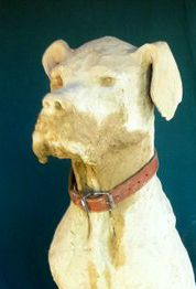 Close up of face great dane sculpture