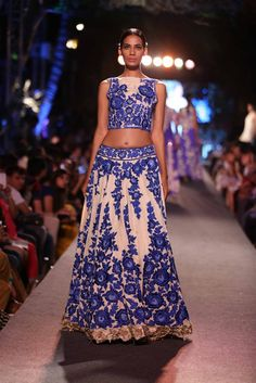 blue roses embroidered onto lengha | Manish Malhotra's The Blue Runway at Lakme Fashion Week Summer 2015
