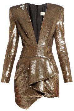 Beautiful Alexandre Vauthier Plunge-neck sequin mini dress Womens Dresses from top store Rock Dress, Dress Up, Wrap Dress, Alexandre Vauthier, 1980s Glamour, Dress Outfits, Fashion Dresses, Velvet Fashion, Mini Vestidos