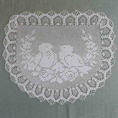 PB080 Vintage Filet Crochet Pattern Chair Back Doily Birds I think these two little lovebirds are adorable! You can use any size cotton crochet thread you choose.  The finished sizes of the pieces made using the different size crochet thread have been estimated, as well as the quantities of the thread needed to complete the piece.  Sizes:Dependent on choice of Thread.