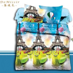 Find More Bedding Sets Information about 3D Print Eiffel Tower Queen Size Bedding Set 4PCS Duvet Cover Sheet 2Pillow Case housse de couette Children fundas nordicas 3d,High Quality bedding duvet cover sets,China bedding fitted sheet Suppliers, Cheap sheet metal wall art from Top Qulity Human Hair Factory on Aliexpress.com