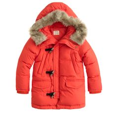 J.Crew boys' expedition parka in modern red.