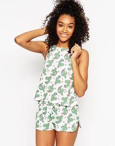 ASOS Cactus Print Tank & Short Pajama Set