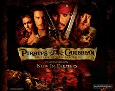 Pirates of the Caribbean: The Curse of the Black Pearl - Wallpaper with Keira Knightley, Johnny Depp, Geoffrey Rush & Orlando Bloom