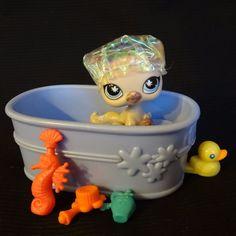 Littlest Pet Shop 664 Siamese Cat Plum LPS Toy HASBRO 2006 Bath set