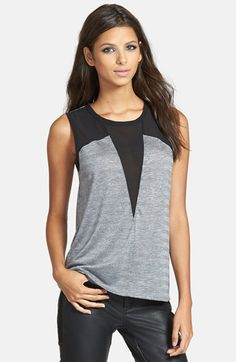 Free shipping and returns on Sophie Rue Grey V-Panel Top at Nordstrom.com. A sheer panel details the neckline of a sleeveless top fashioned from a soft fabric blend and finished with a rounded hem.