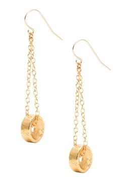 Brushed Wheel Drop Earrings.