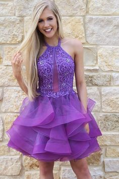 Halter homecoming dresses, organza homecoming dresses, beautiful hoce dresses, short prom dresses, party dresses,cocktaidresses #SIMIBridal #homecomingdresses Dresses Short, Nice Dresses, Beaded Lace, Lace Beading, Beaded Embroidery, Dream Dress, Homecoming Dresses, Dress Making, Designer Dresses