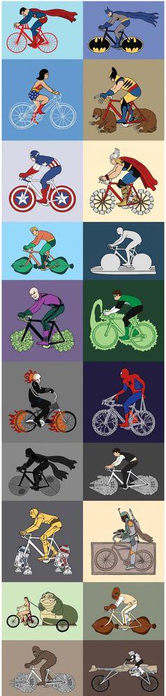 Superhéroes y sus bicicletas