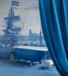 Azul y blanco - mural azulejos Delft