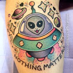 Nihilisa Frank inspired UFO Tattoo by Linnea Pecsenye @linneatattoos in Asheville, NC