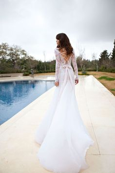 Julie Vino- 2013 Bridal collection- solstice lace wedding dress with long trail