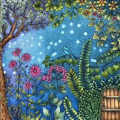 Take a peek at this great artwork on Johanna Basford's Colouring Gallery! Enchanted Forest Book, Enchanted Forest Coloring Book, Coloring Books, Coloring Pages, Coloring Tips, Johanna Basford Secret Garden, Secret Garden Coloring Book, Johanna Basford Coloring Book, Wonder Book