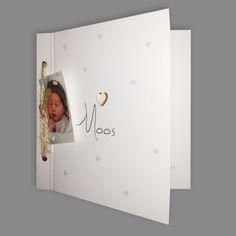 Geboortekaartje Moos, ontworpen door Ontwerp Studio Rottier