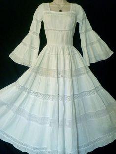 RARE VINTAGE 1970s GUNNE SAX WHITE PRAIRIE ANGEL BEAUTY WEDDING DRESS, 6, 8 #GunneSax