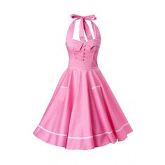 Bunny 50s Retro halter Olivie Swing Dress in Pink and White dots ($63) ❤ liked on Polyvore featuring dresses, retro-style dresses, halter-neck tops, bunny dress, halter neck dress and swing dress
