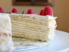 I have yet to make a crepe cake, but this is really tempting. Coconut, rum, mint - all favorites.