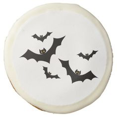 Black Bats Flying in Formation Sugar Cookie - decor diy cyo customize home